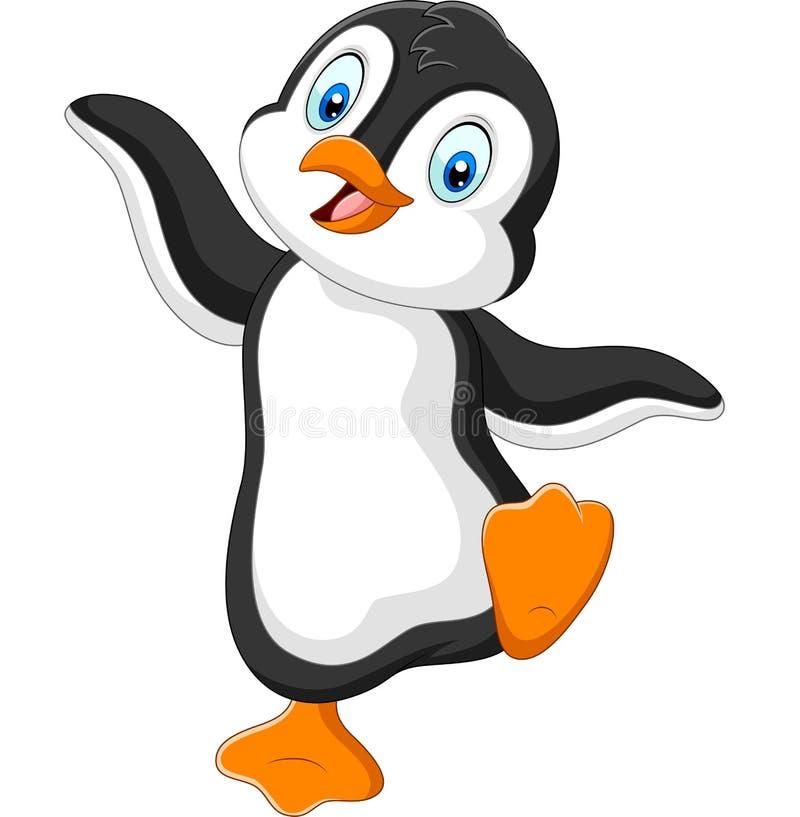 Gullig pingvintecknad filmdans på vit bakgrund vektor illustrationer