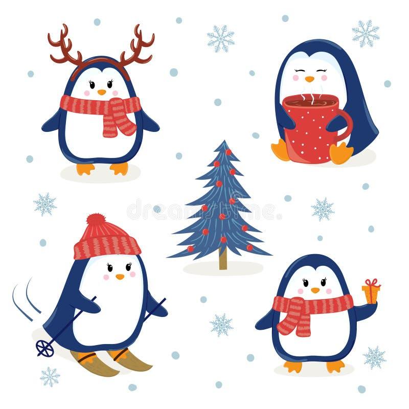 Gullig pingvinuppsättning Hälsningar för glad jul och för lyckligt nytt år stock illustrationer