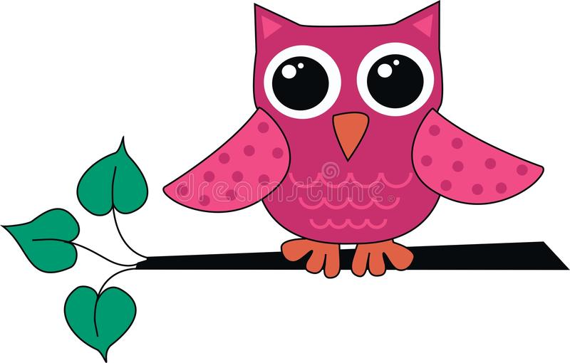 gullig pink för liten owl stock illustrationer