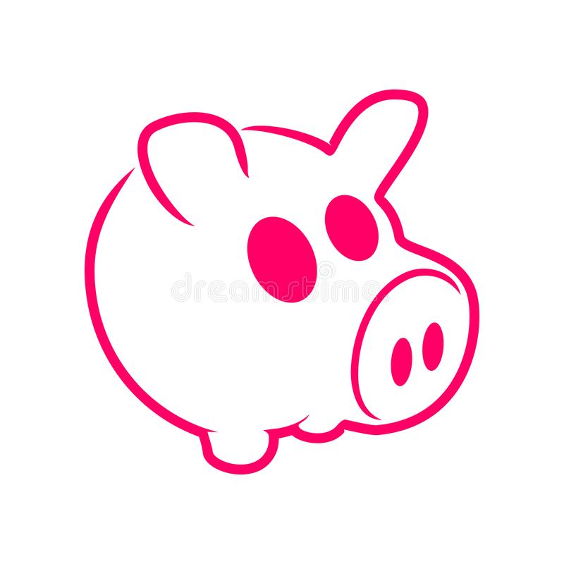 Gullig Pinky Pig Outline Illustration Graphic design stock illustrationer