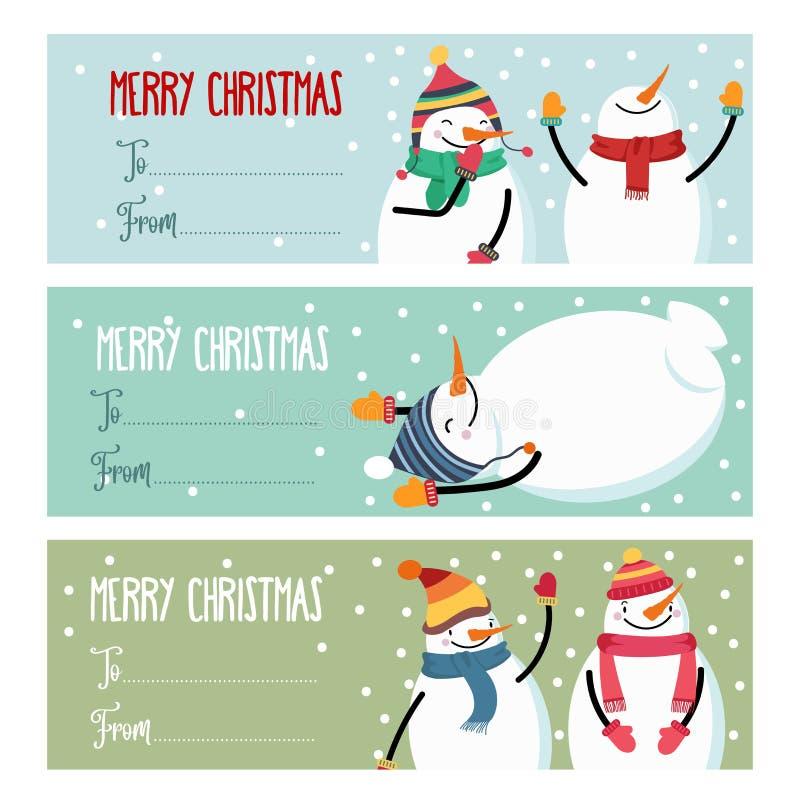 Gullig plan samling för designjuletiketter med snögubbeisolat royaltyfri illustrationer