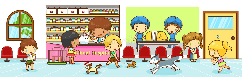 Gullig plats för djurt sjukhus för tecknad film inre med att komma med för ägare royaltyfri illustrationer
