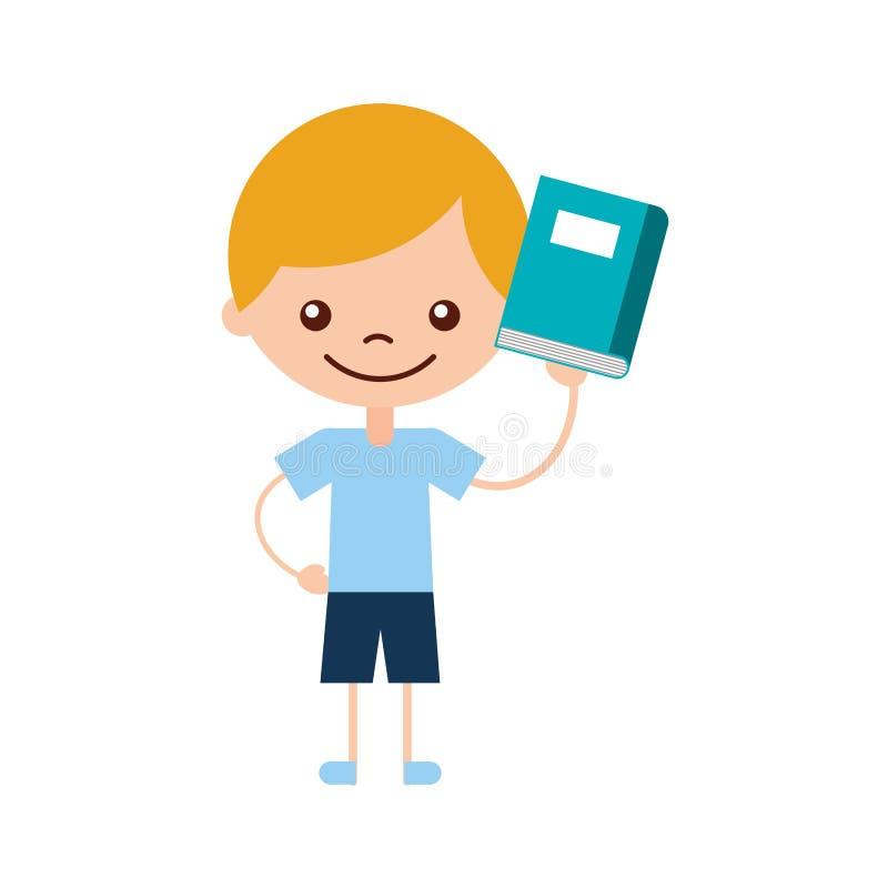 Gullig pojke med bokteckensymbolen vektor illustrationer