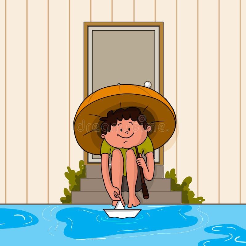 Gullig pojke med det pappers- fartyget i regnig dag stock illustrationer