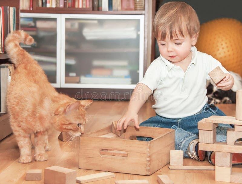 Gullig pojke med katten royaltyfria foton