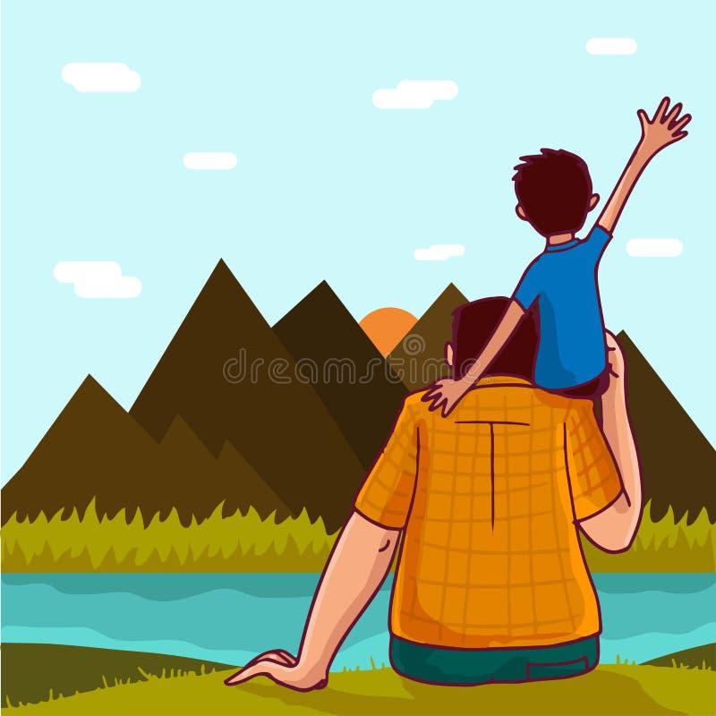 Gullig pojke och hans farsa för lyckliga faders dag stock illustrationer