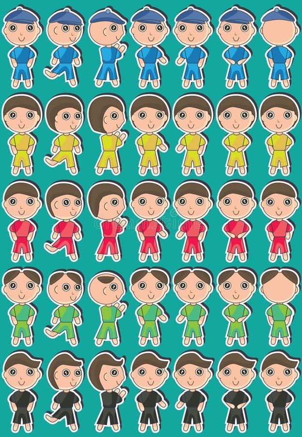 Gullig pojke Set_eps royaltyfri illustrationer