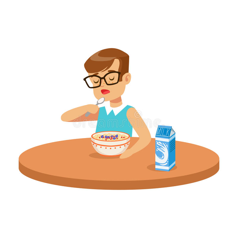 Gullig pojke som äter havregröt, medan ha frukosten i köket, färgrik teckenvektorillustration royaltyfri illustrationer
