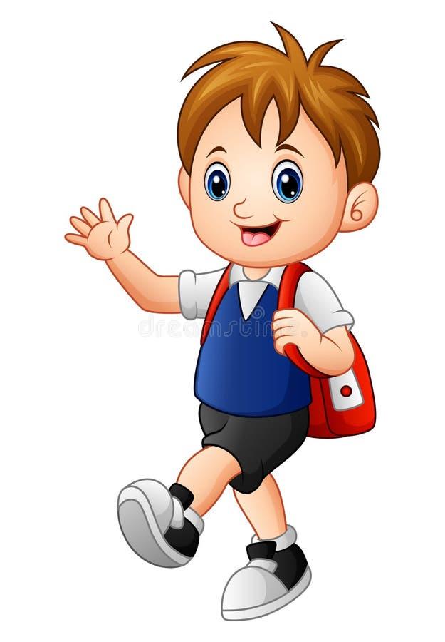 Gullig pojke som går till skolan med en ryggsäck vektor illustrationer