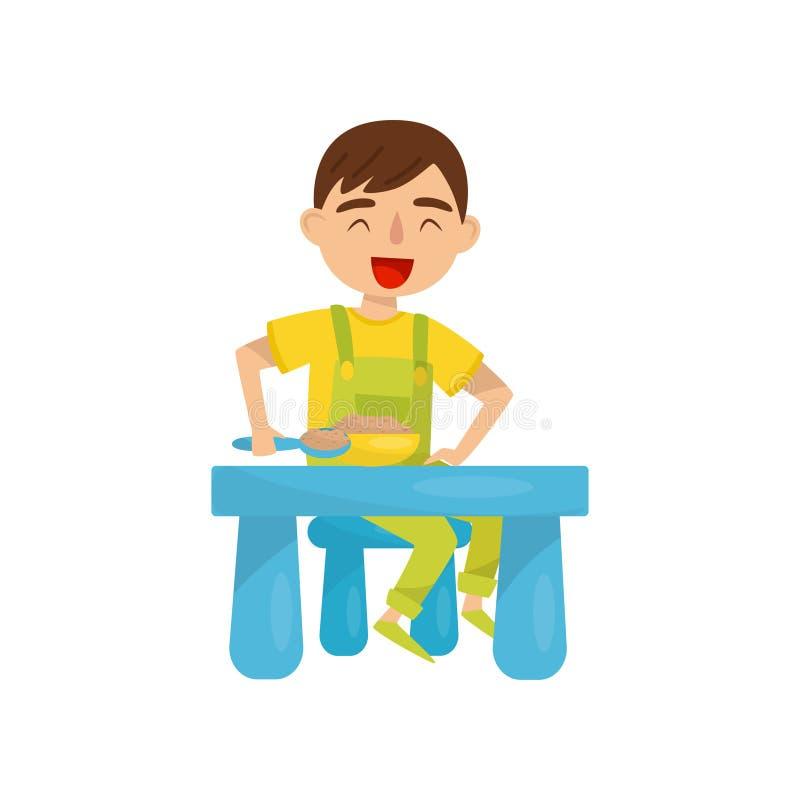 Gullig pojke som har frukosten, ungeaktivitet, daglig rutinmässig vektorillustration på en vit bakgrund stock illustrationer