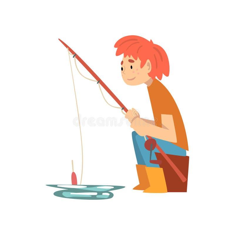 Gullig pojke som sitter i kust med metspöet, liten fiskareCartoon Character Vector illustration vektor illustrationer