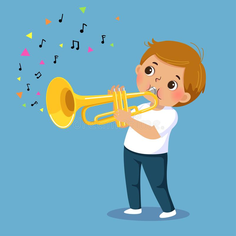 Gullig pojke som spelar trumpeten på blå bakgrund stock illustrationer