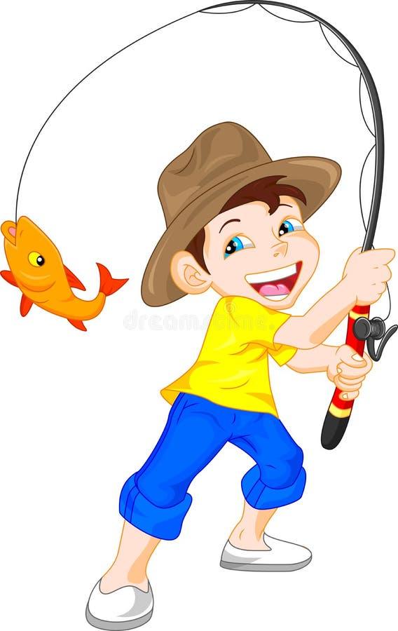 Gullig pojkefisketecknad film vektor illustrationer