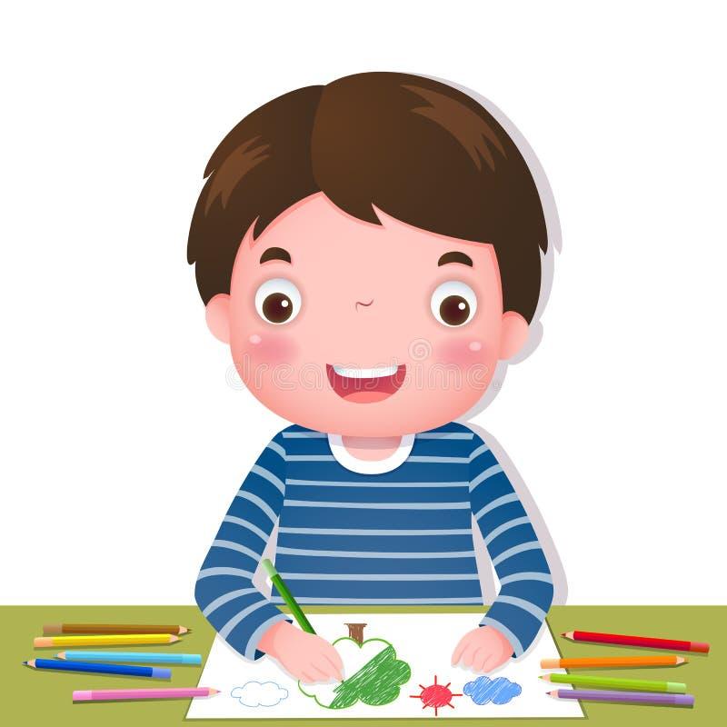 Gullig pojketeckning med färgglade blyertspennor royaltyfri illustrationer