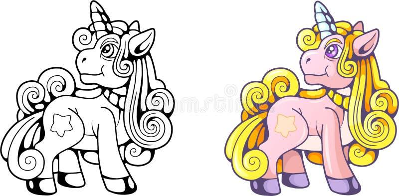 Gullig ponnyenhörning, rolig illustration stock illustrationer