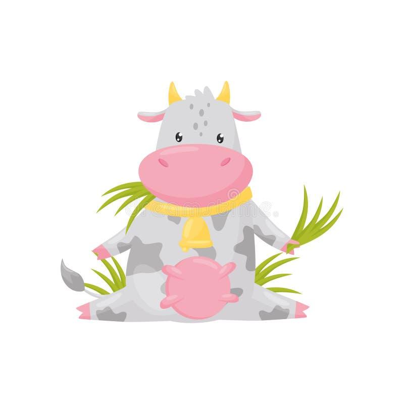 Gullig prickig ko som sitter och äter gräs, illustration för vektor för tecken för tecknad film för djur för rolig lantgård på en royaltyfri illustrationer