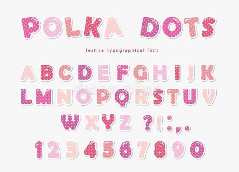 Gullig prickstilsort i pastellfärgade rosa färger Det pappers- utklippabc:et märker och nummer Roligt alfabet för flickor stock illustrationer