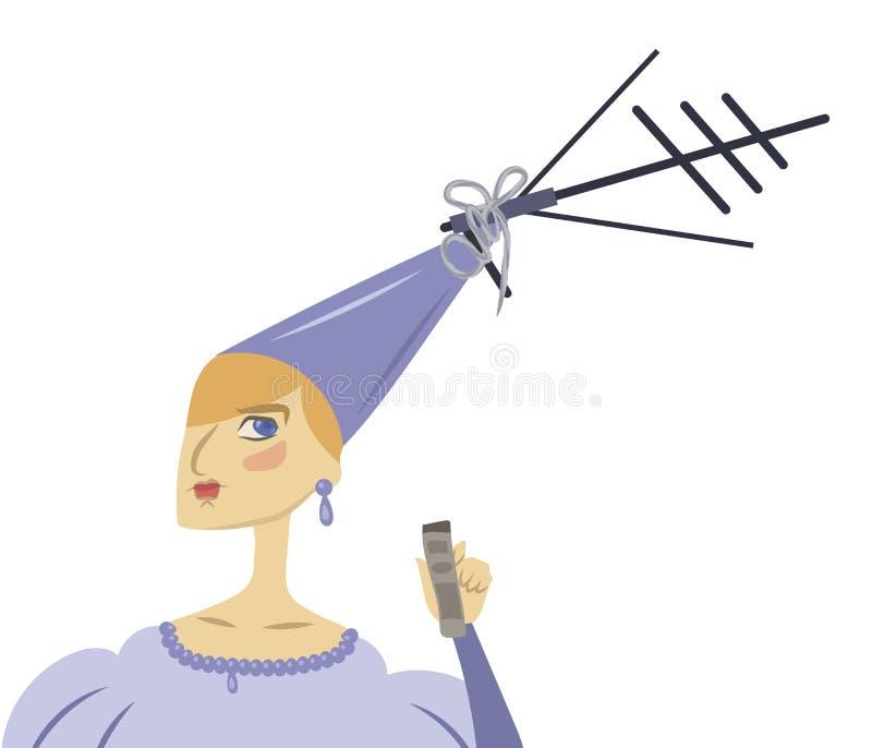 Gullig prinsessa för rolig tecknad film i en blå klänning med en TVantenn på en hatt på en vit bakgrund vektor illustrationer