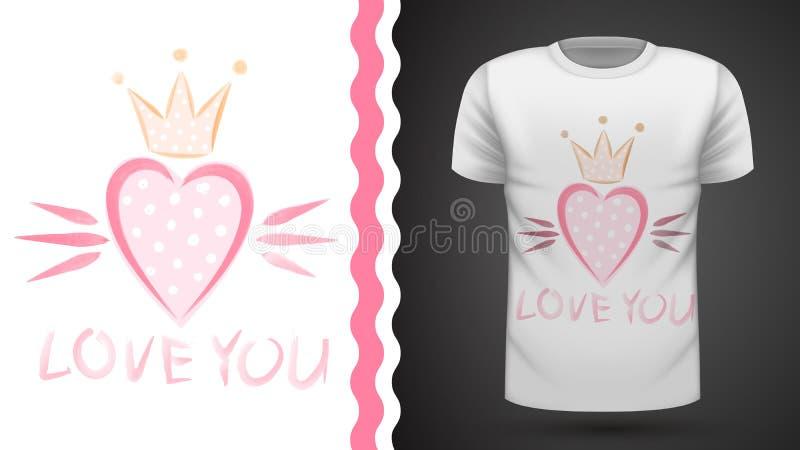 Gullig prinsessa - idé för tryckt-skjorta royaltyfri illustrationer