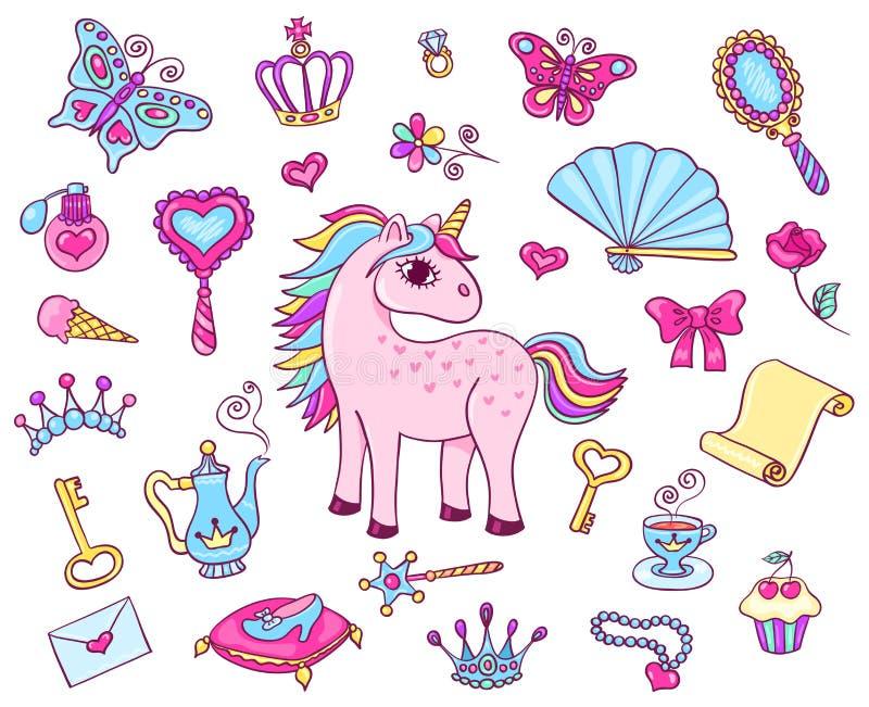 Gullig prinsessauppsättning med enhörningen vektor illustrationer