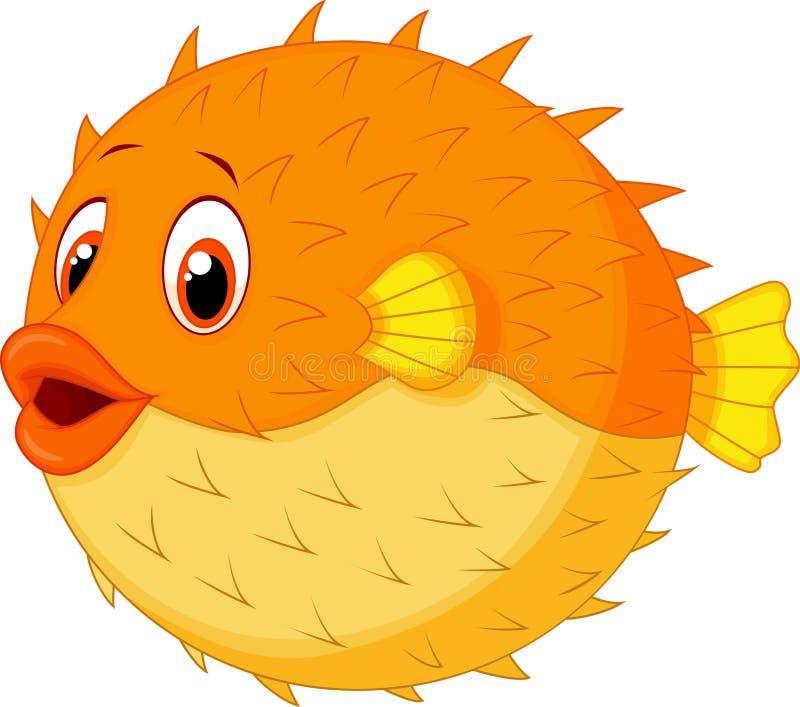 Gullig pufferfisktecknad film stock illustrationer