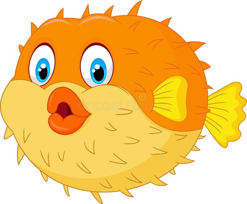 Gullig pufferfisktecknad film vektor illustrationer