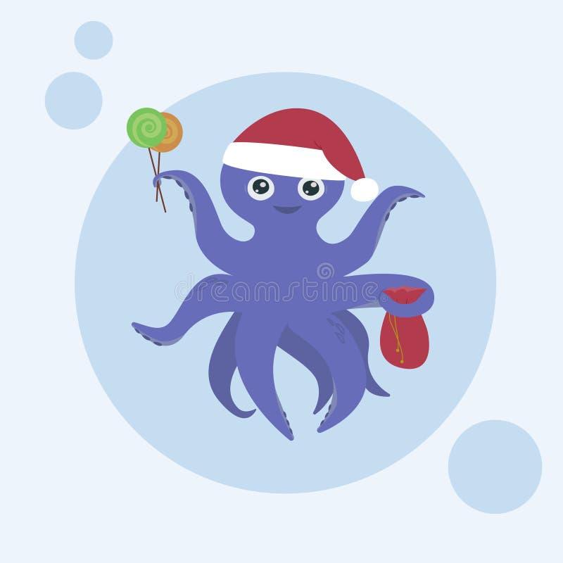 Gullig purpurfärgad bläckfisk med ett leende, hälsningkort vektor illustrationer