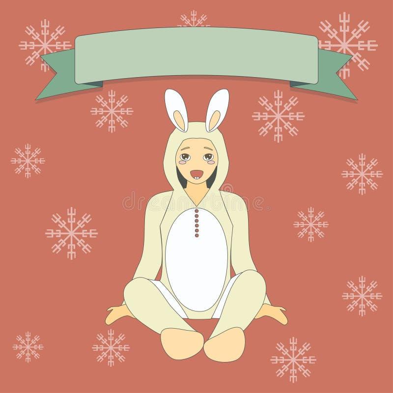 Gullig pys i dräkt av en kanin vektor illustrationer