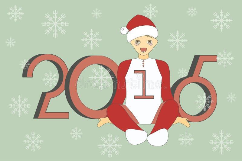 Gullig pys i dräkt av Santa Claus stock illustrationer