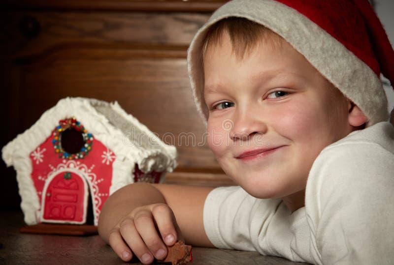 Gullig pys i en julhatt med att se kameran arkivfoto