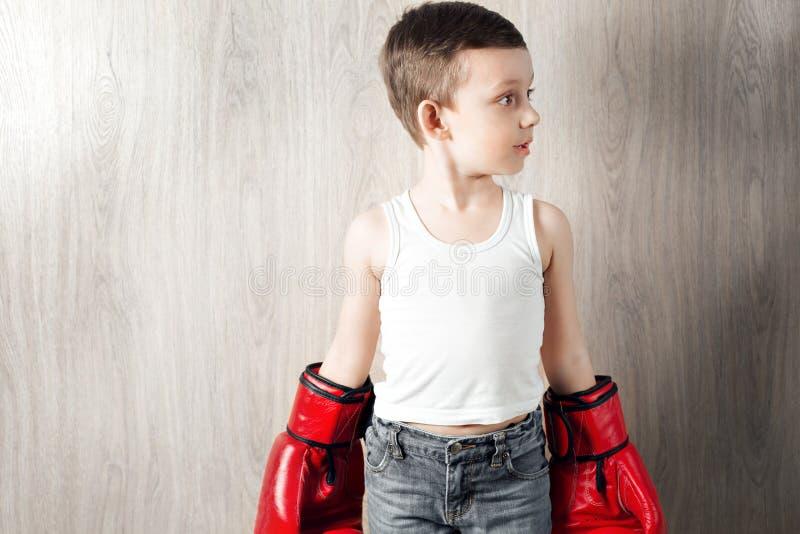 Gullig pys med stort format för boxninghandskar Stående av ett sportigt barn som är förlovat i ask bedra omkring och inte allvarl royaltyfri fotografi