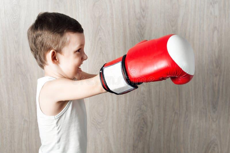 Gullig pys med stort format för boxninghandskar Stående av ett sportigt barn som är förlovat i ask bedra omkring och inte allvarl royaltyfri foto