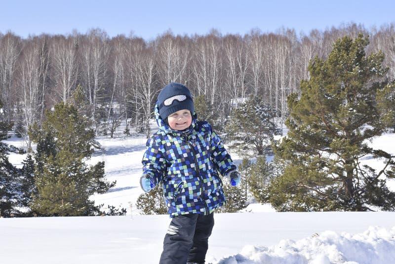 Gullig pys som bär varm kläder som spelar på vinterskog på arkivbilder