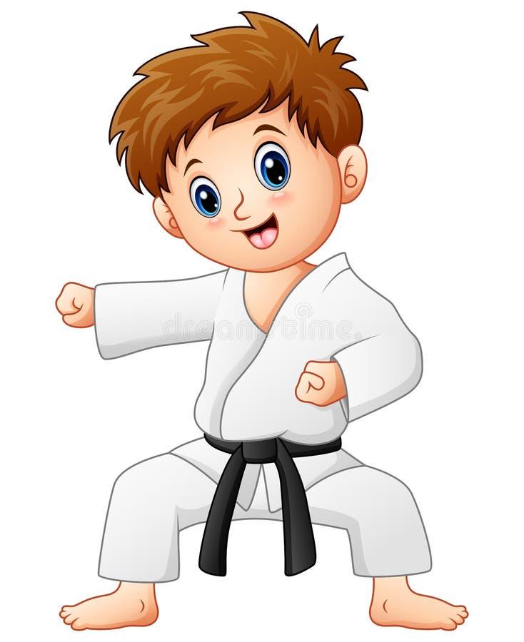 Gullig pys som gör karate royaltyfri illustrationer