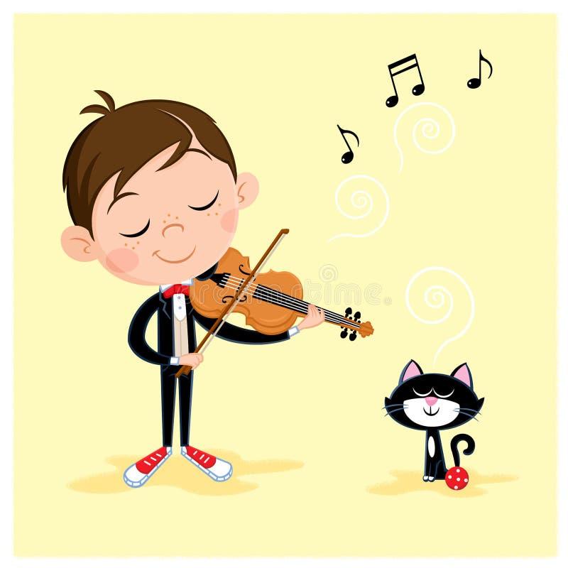 Gullig pys som spelar fiolen till hans roliga katt royaltyfri illustrationer