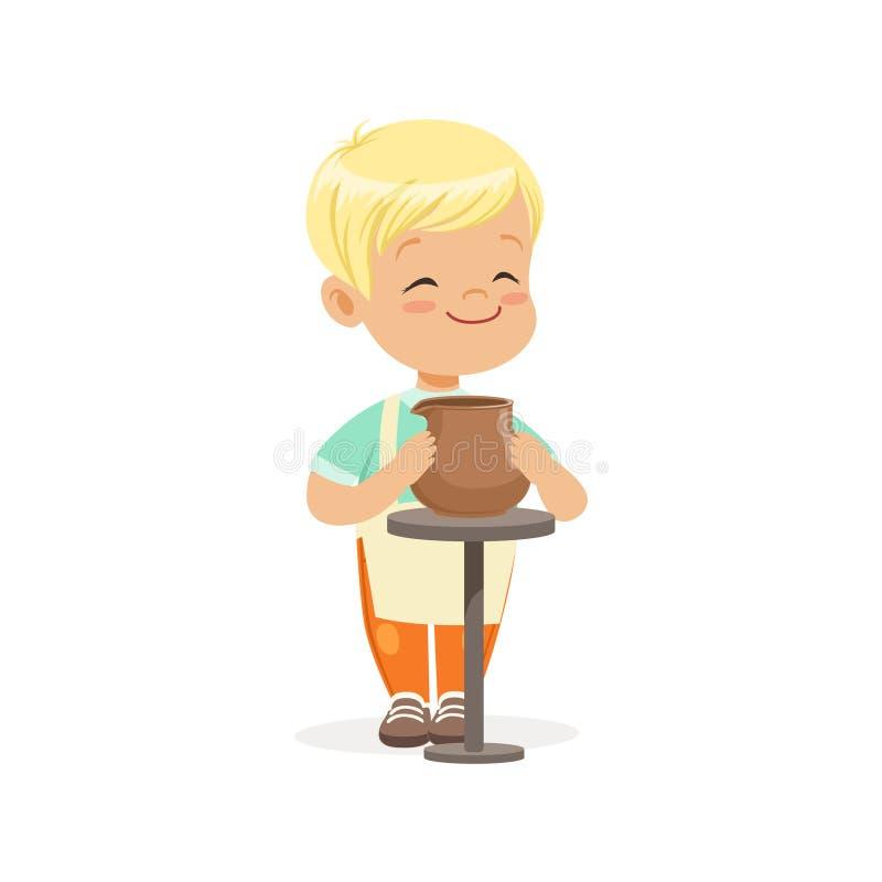 Gullig pyskeramiker som gör den keramiska krukan, ungekreativitet, utbildning och barns utveckling, färgrik teckenvektor royaltyfri illustrationer