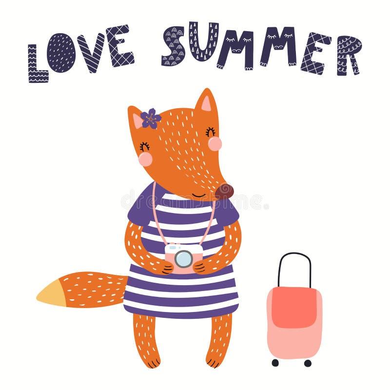 Gullig räv i sommar stock illustrationer