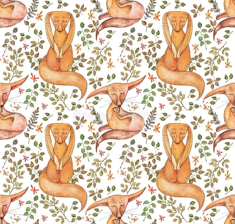 Gullig räv och sömlös modell för blommor Trendig mall för design av kläder Sömlös klassisk broderi stock illustrationer