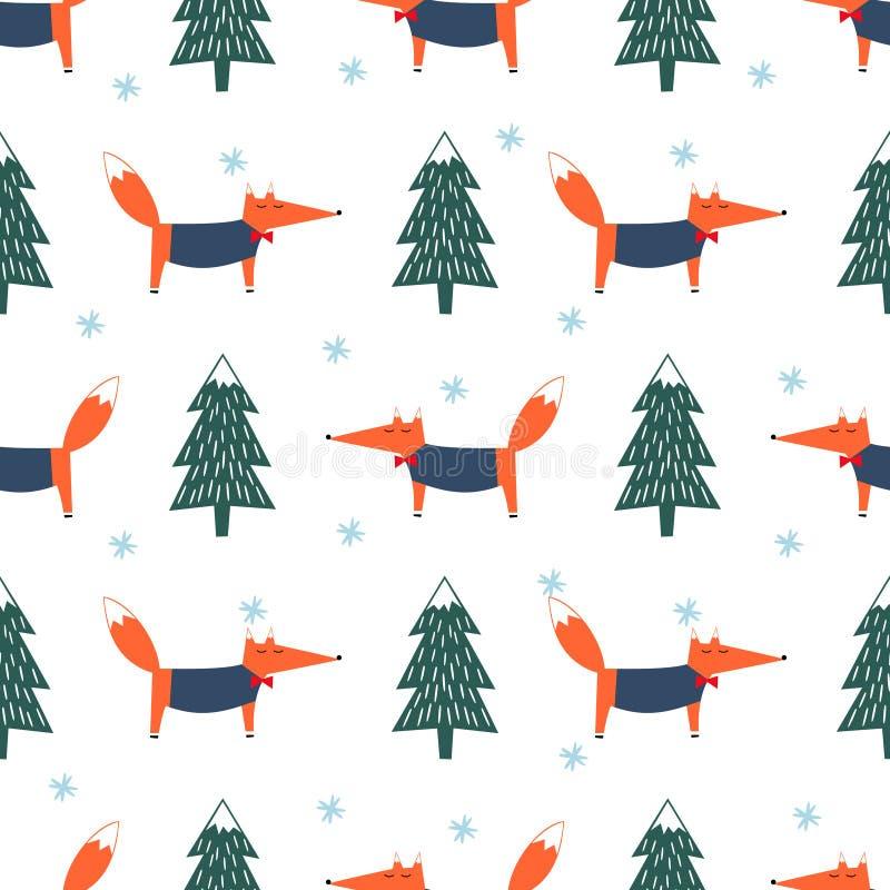 Gullig räv, xmas-träd och sömlös modell för snöflinga stock illustrationer