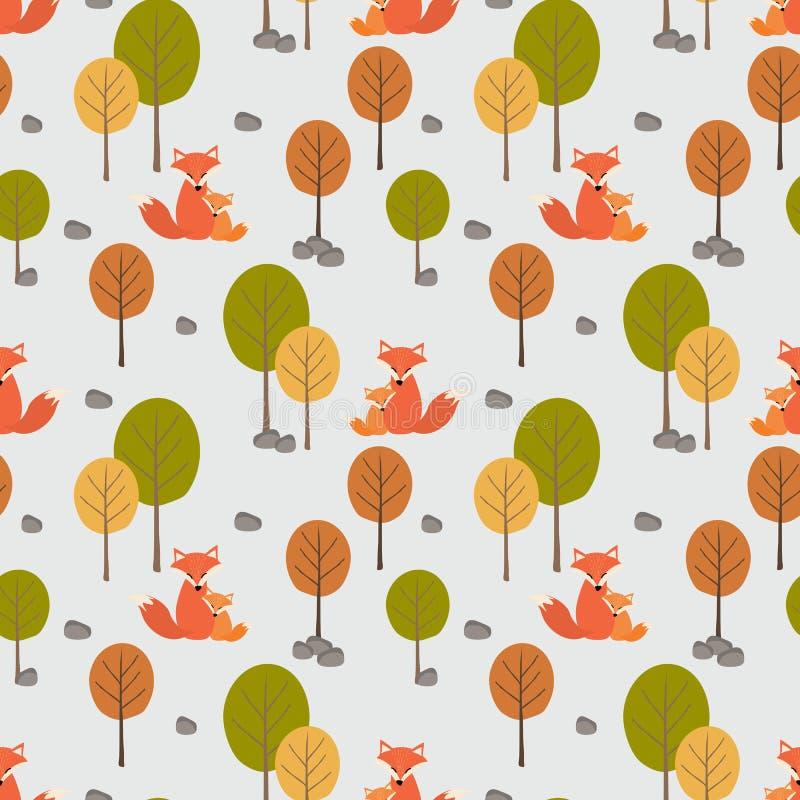 Gullig rävmamma och hennes unge i den sömlösa höstskogen vektor illustrationer