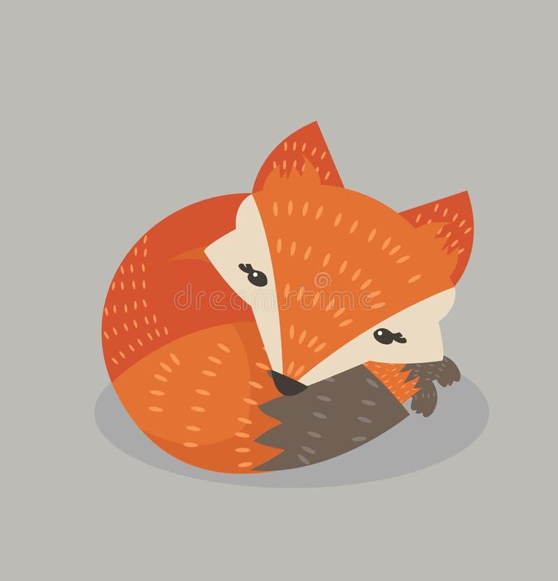 Gullig rävsömn stock illustrationer