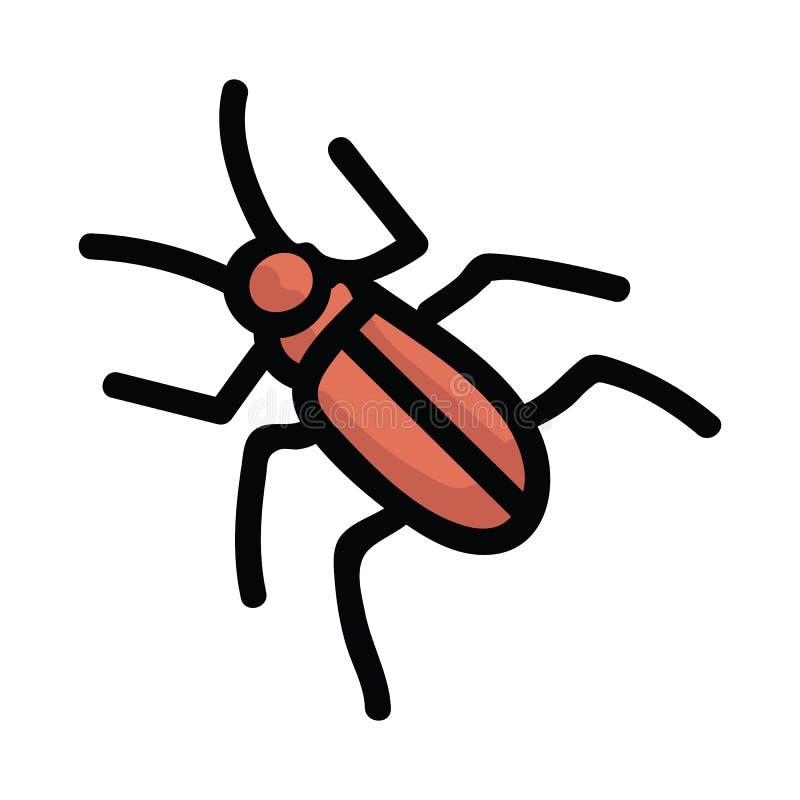 Gullig röd utskjutande uppsättning för motiv för tecknad filmvektorillustration För trädgårdplåga för hand utdragna symboler för  royaltyfri illustrationer