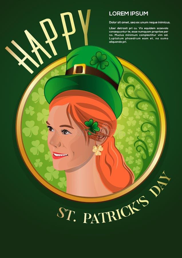 Gullig rödhårig flicka i en grön trollhatt royaltyfri illustrationer