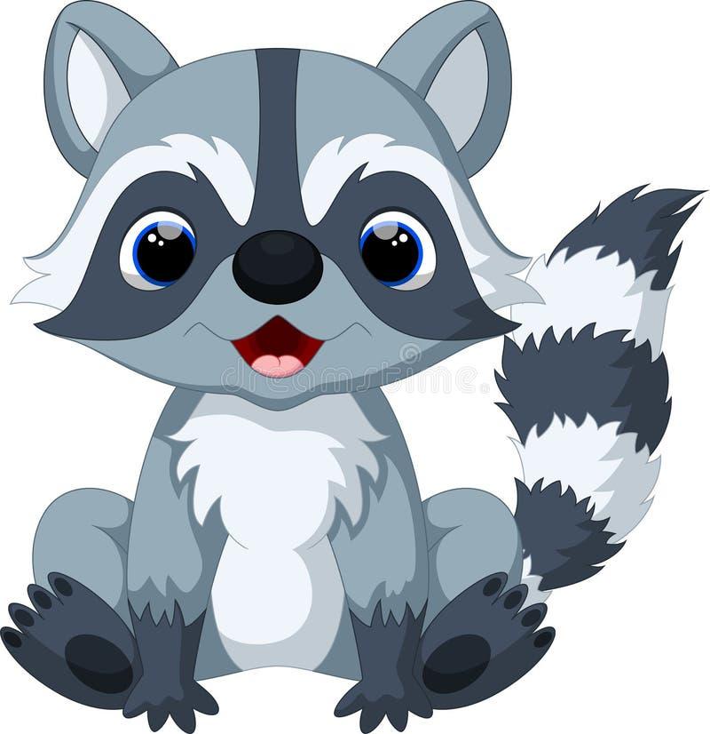 gullig raccoon för tecknad film stock illustrationer