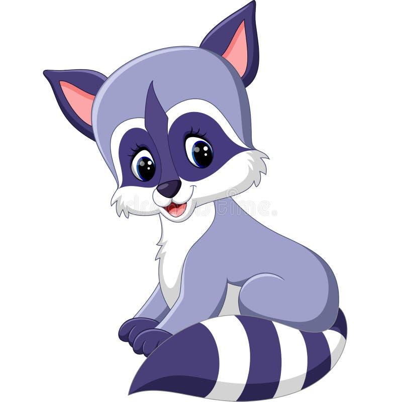 gullig raccoon för tecknad film vektor illustrationer