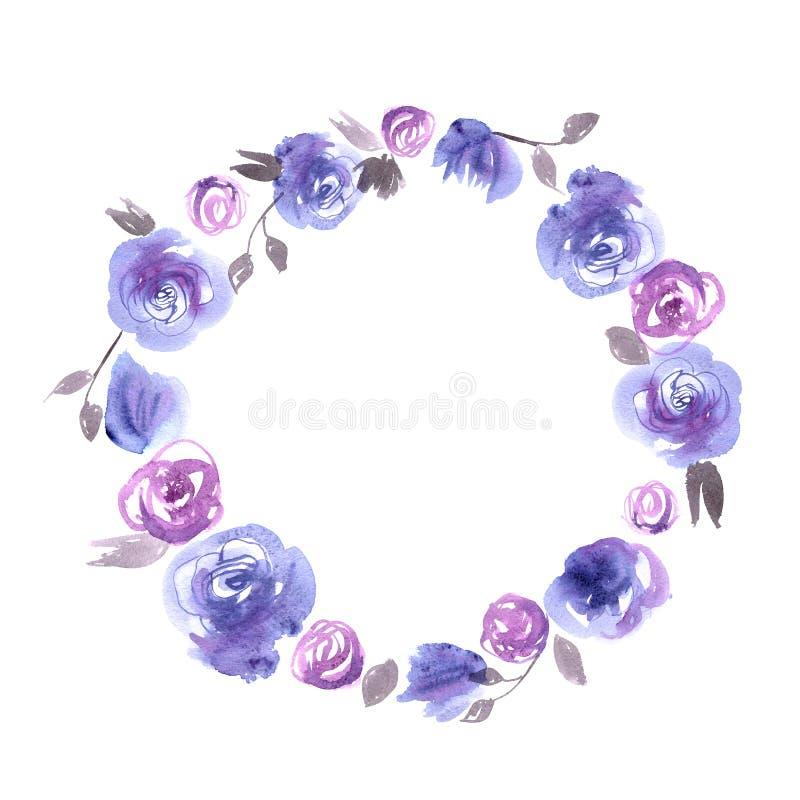 Gullig ram för vattenfärgblommacirkel med blåa rosor inbjudan bröllop för abstraktionkortillustration B stock illustrationer