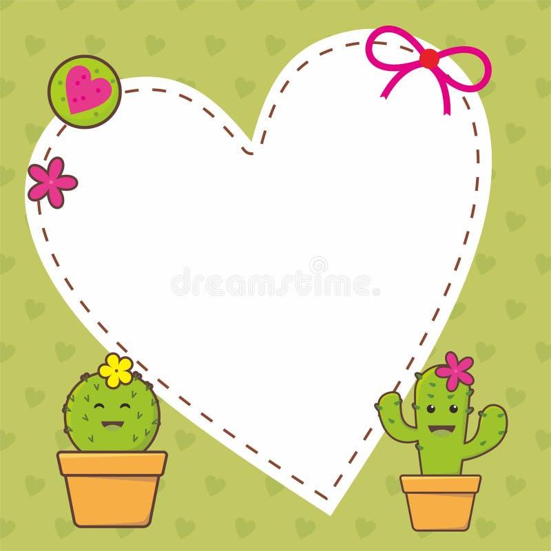 Gullig ramdesign med kaktusvektorn stock illustrationer