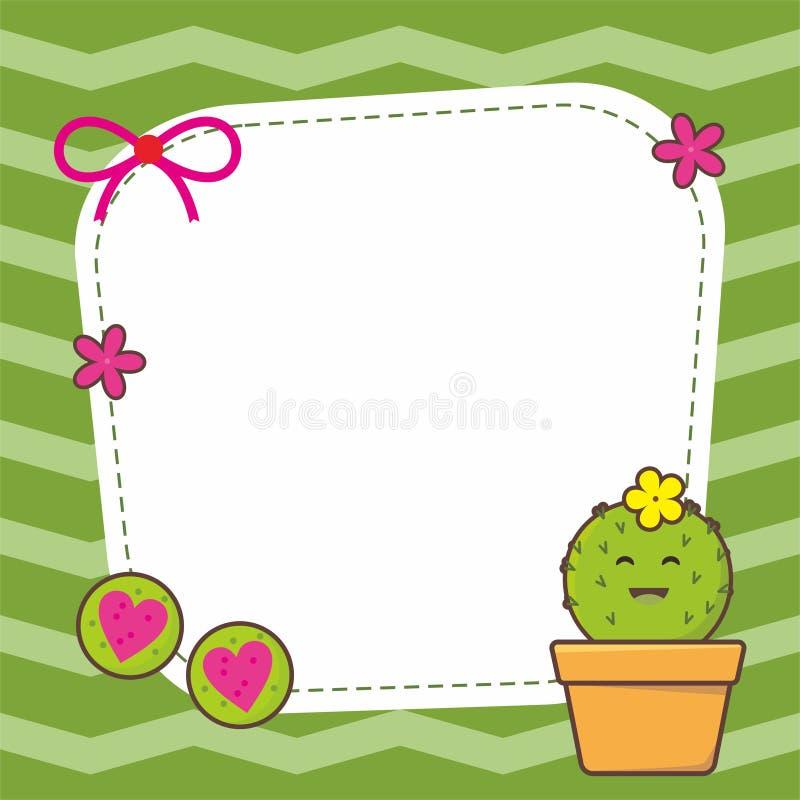 Gullig ramdesign med kaktusvektorn royaltyfri illustrationer