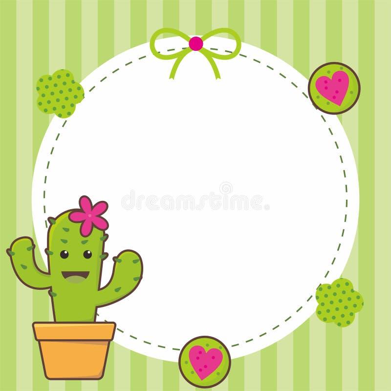 Gullig ramdesign med kaktusvektorn vektor illustrationer