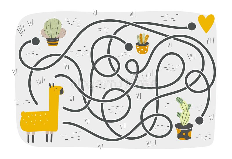 Gullig rebus, prov, aktivitet, logiks?kande f?r ungar vektor illustrationer